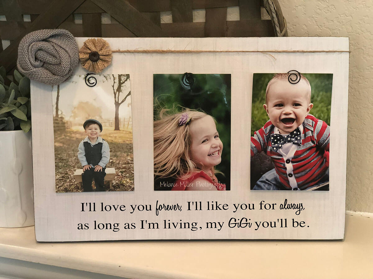Farmhouse Chic Three Photo Grandkid Display