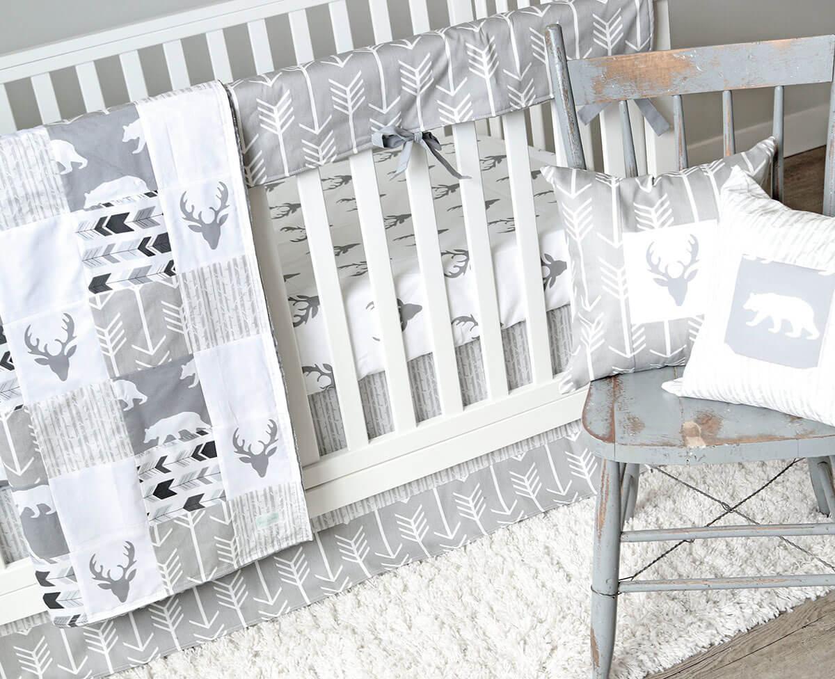 Adorable Gray Wildlife-Inspired Crib Set