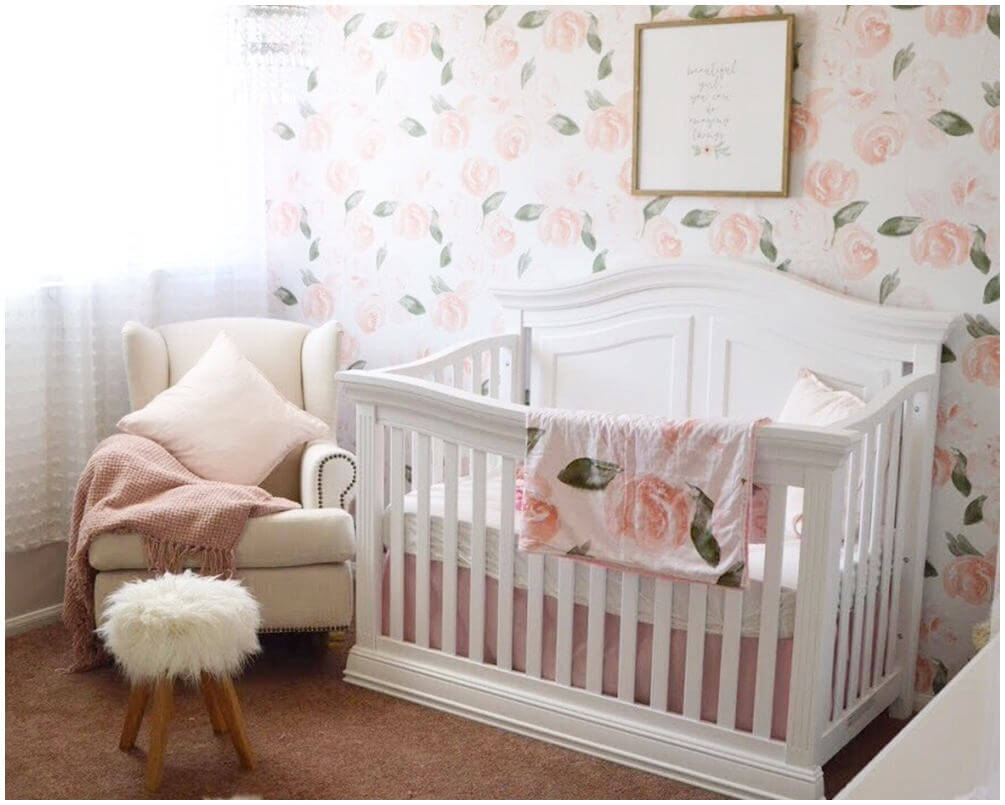 Sweet and Sleepy Rose Crib Set