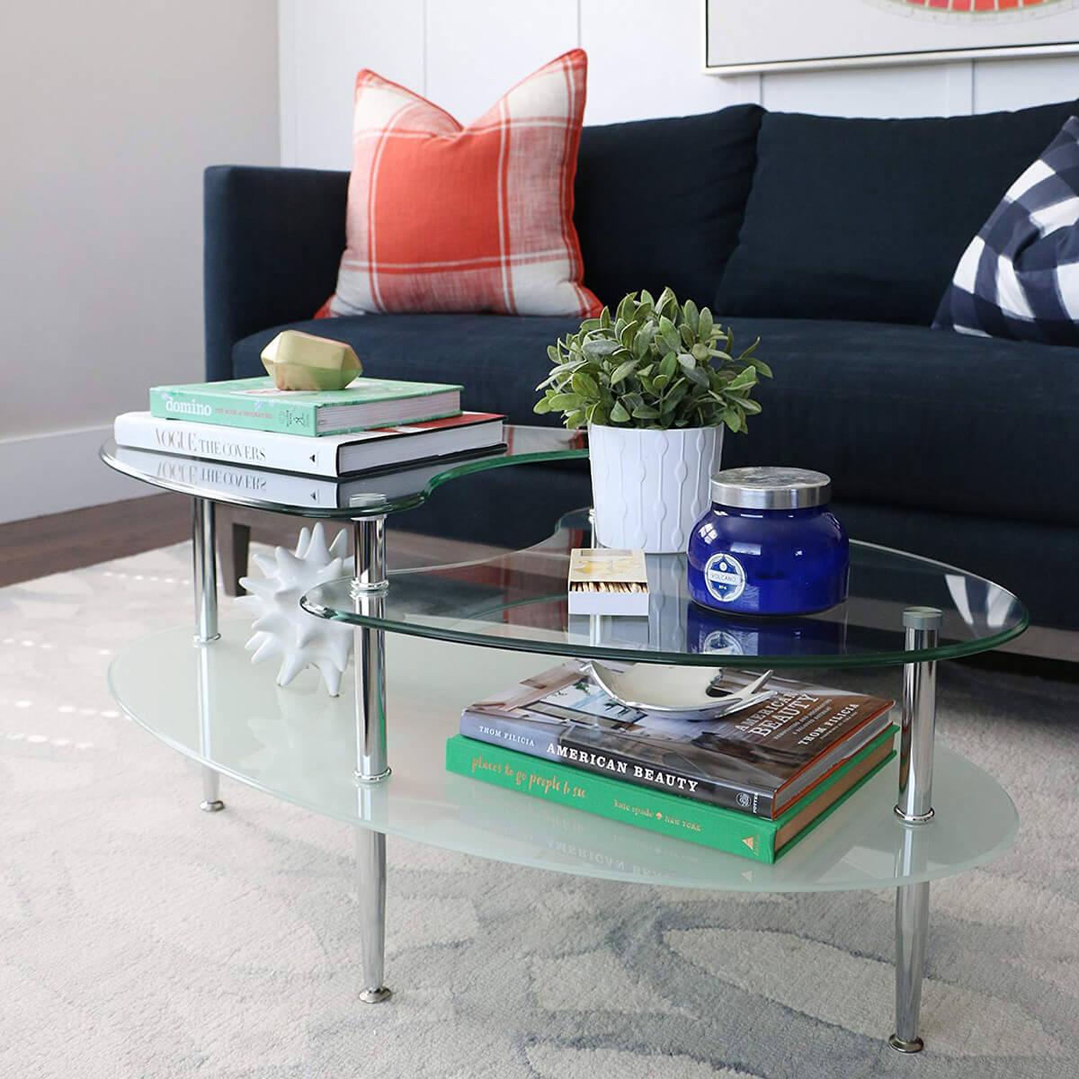 Futuristic Glass and Oval Shaped Table