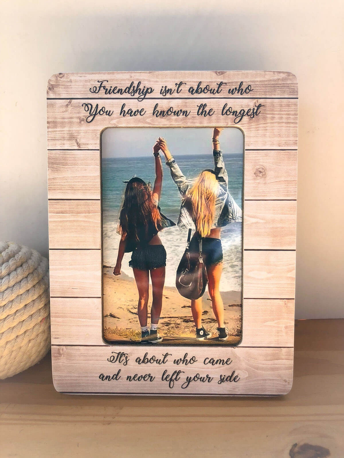 Beachy Wooden Friendship Photo Frame