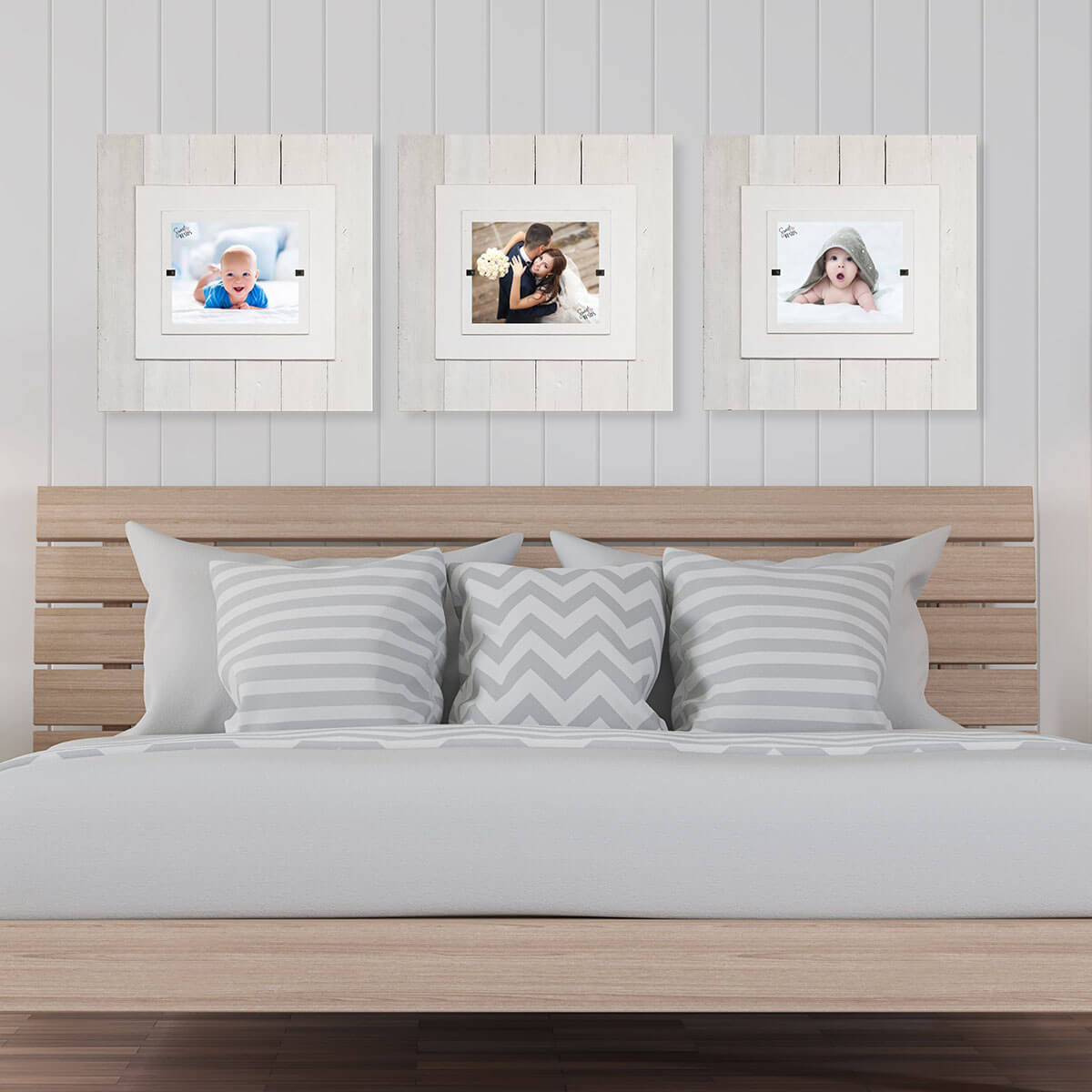White Washed Beveled Frames for Cohesive Display