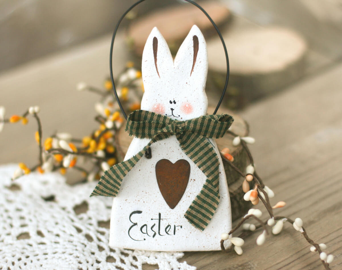 Adorable Hand-cut Salt Dough White Bunny