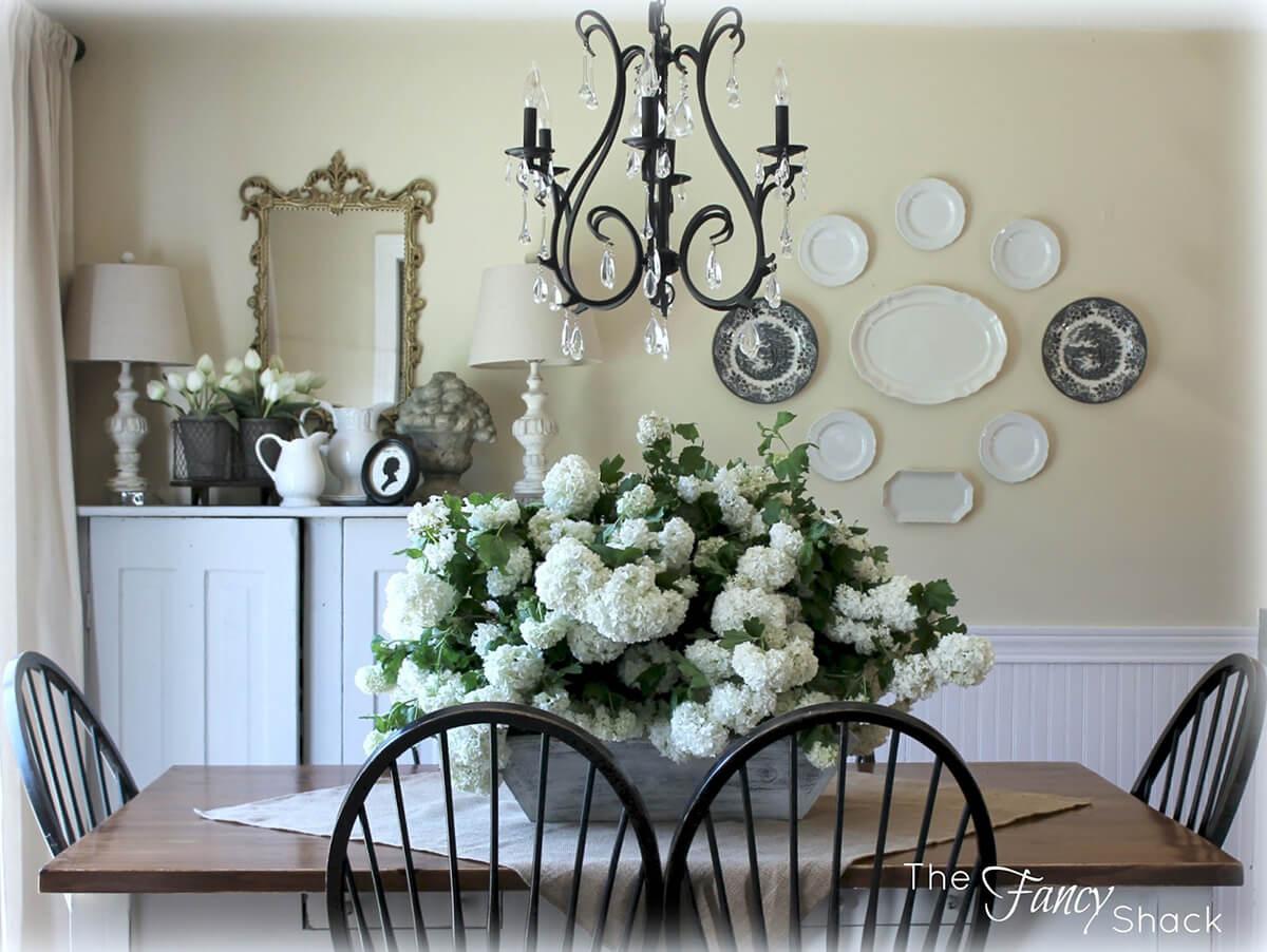 Viburnum and White Wooden Basket
