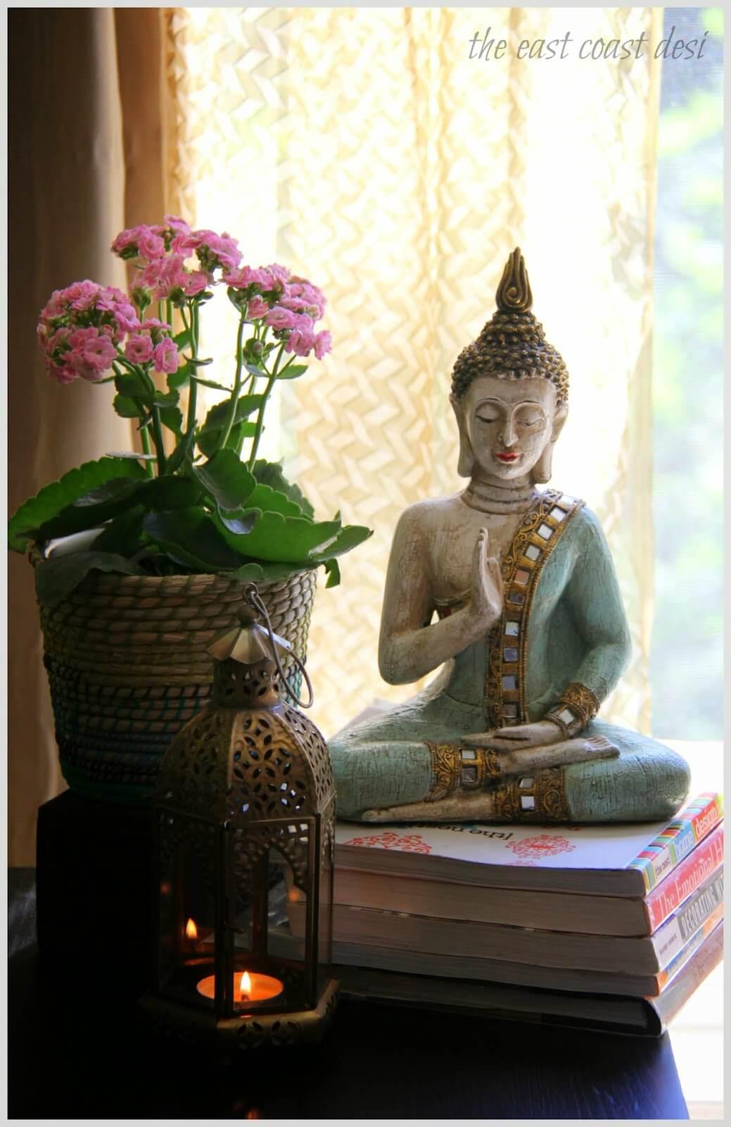 Buddha with Beautiful Lantern and Flowers