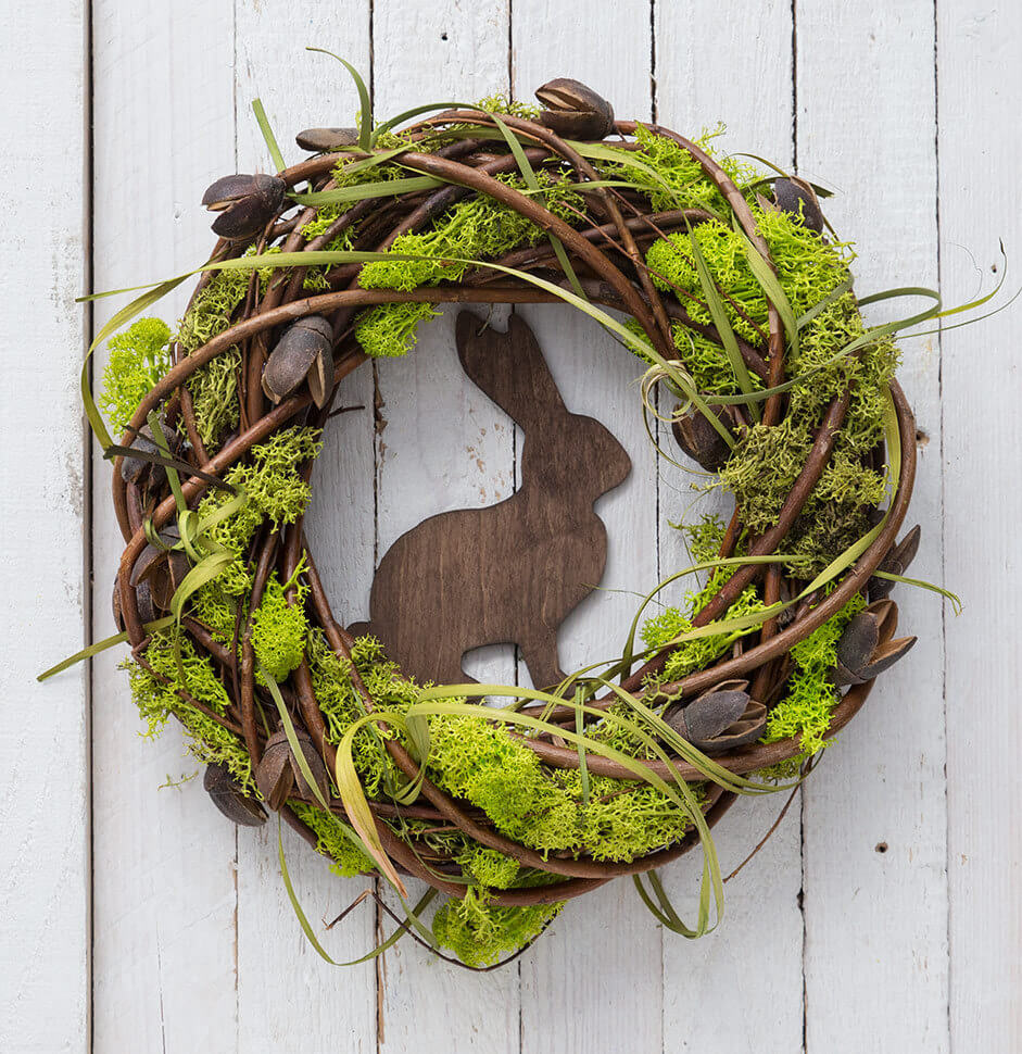 Beautiful Moss Wrapped Wood Bunny Wreath