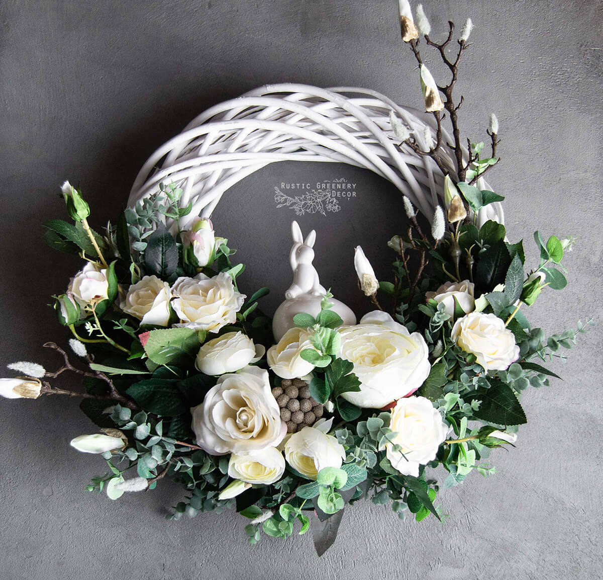 Elegant White Rose Accented Easter Wreath