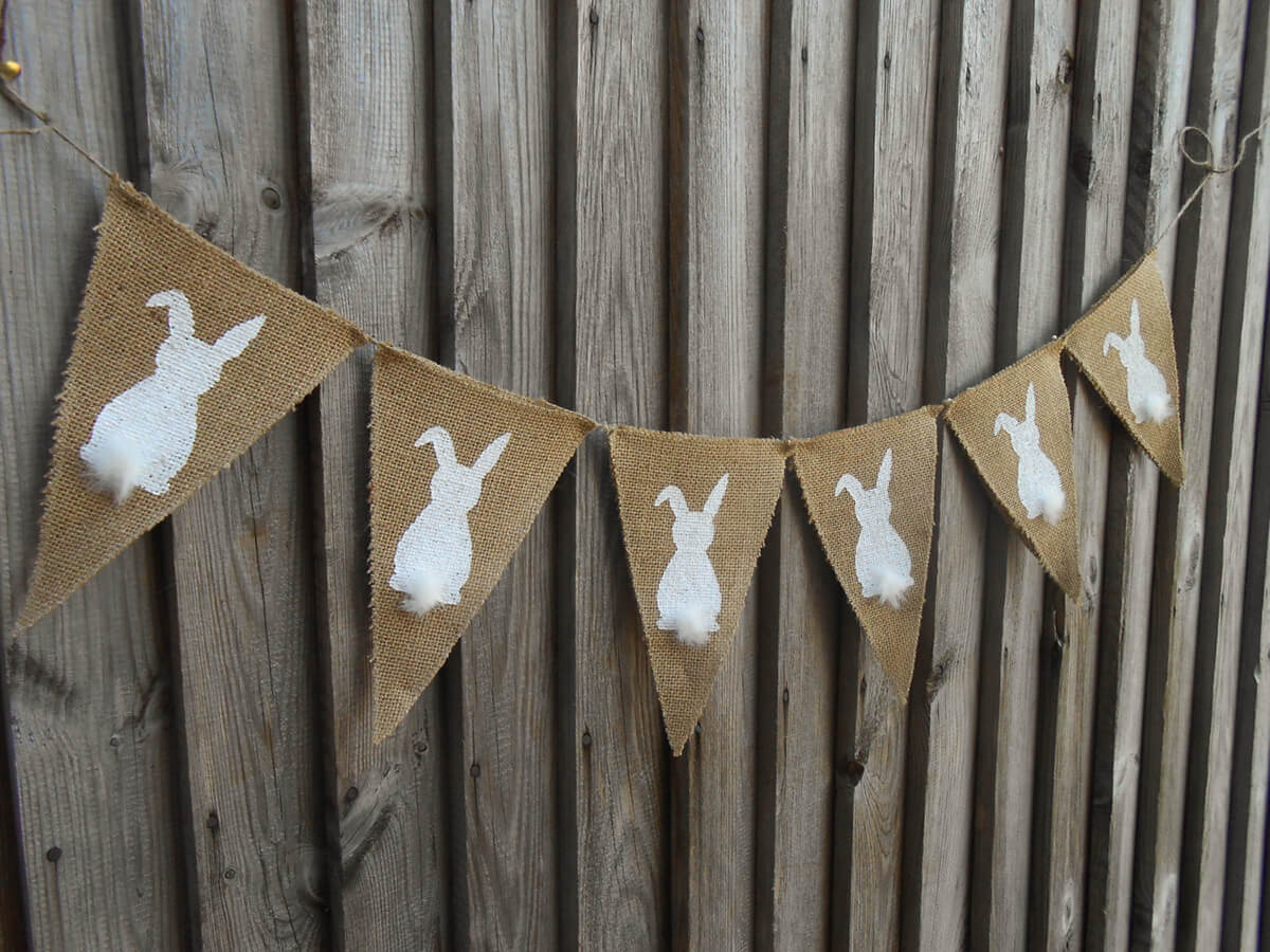 Festive Burlap Bunny Banner with Furry Tails
