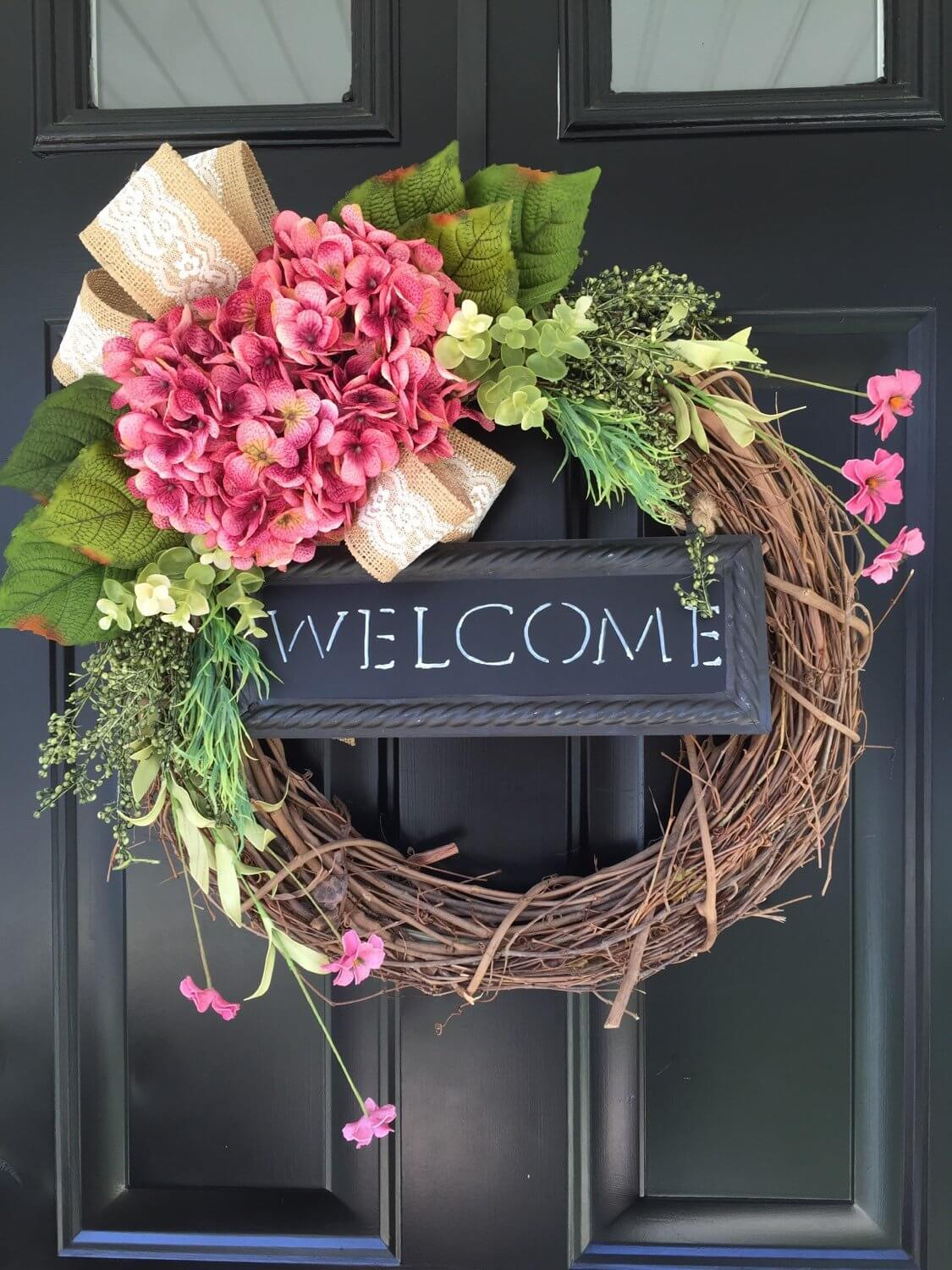 Centered Bouquet Welcome Blackboard Sign