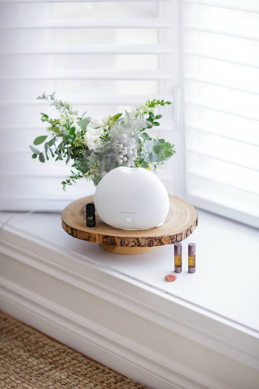 Aroma Box Atop Wooden Slab