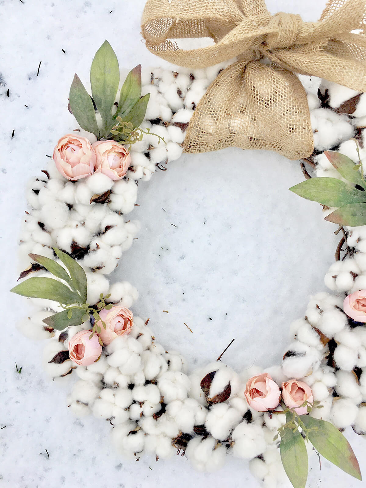 Pink-Rose, Burlap-Ribbon, Cotton Ball Wreath