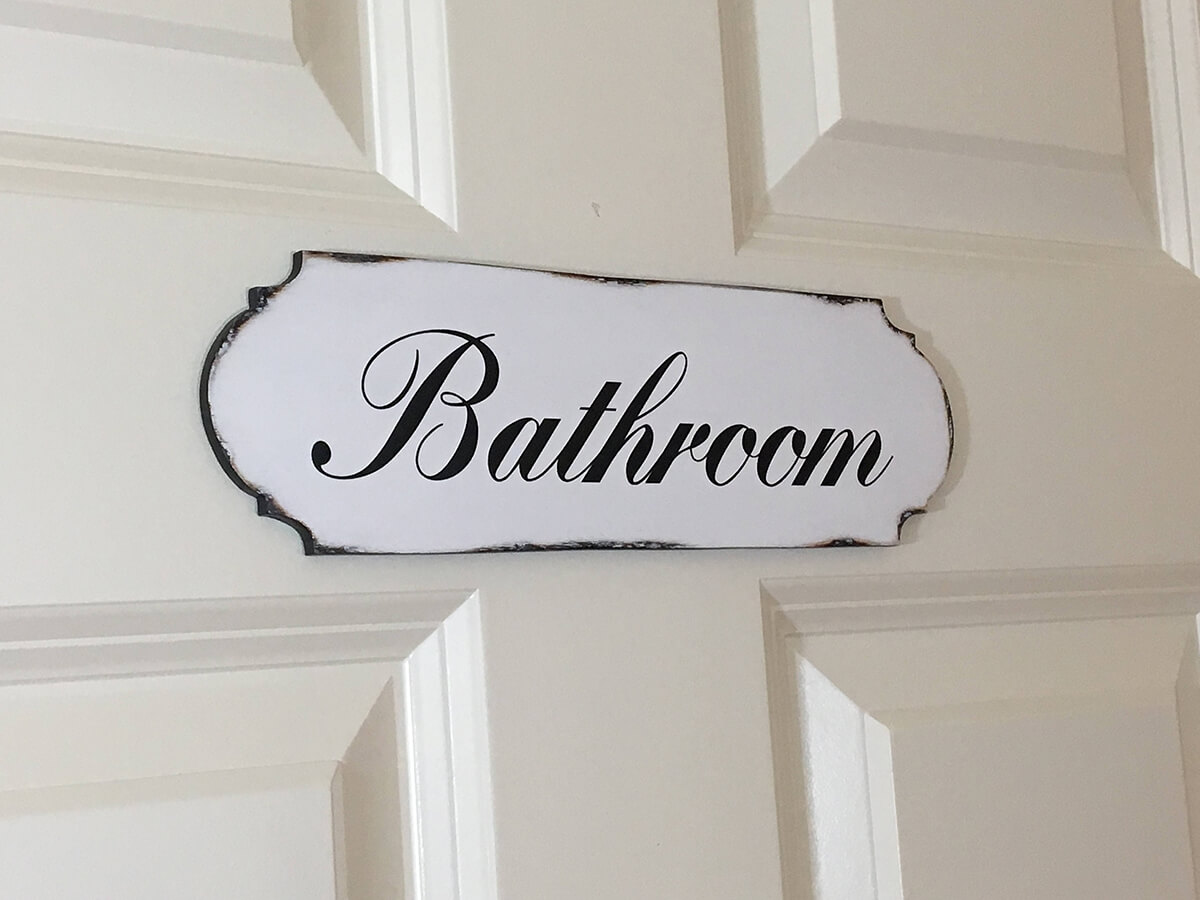 Classy Black and White Bathroom Door Sign