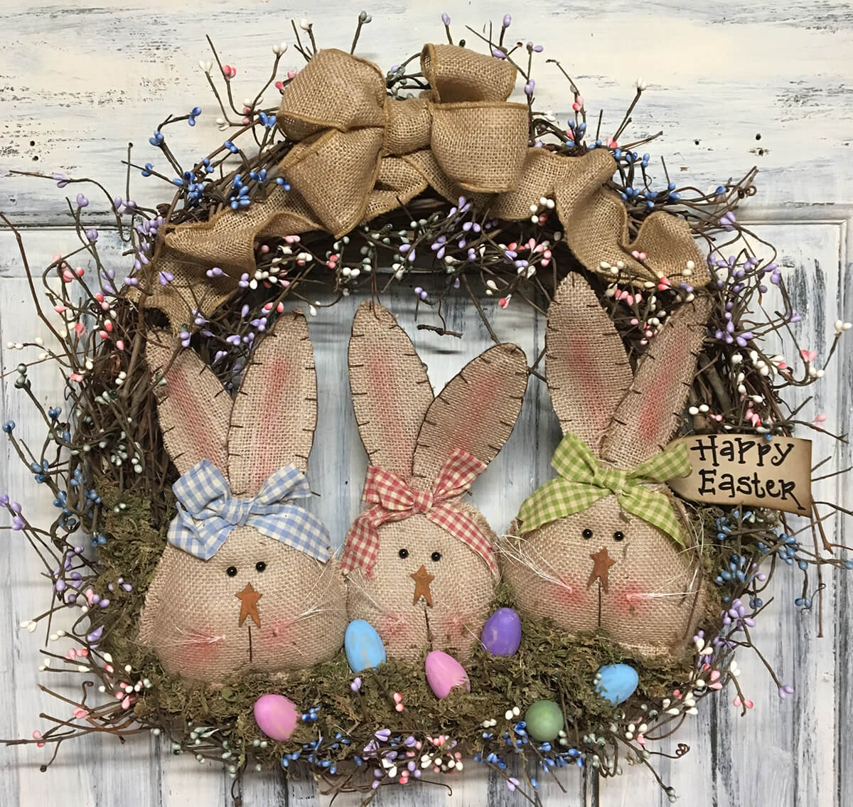 Primitive Burlap-bunnies and Bows with Pastel-pips Wreath