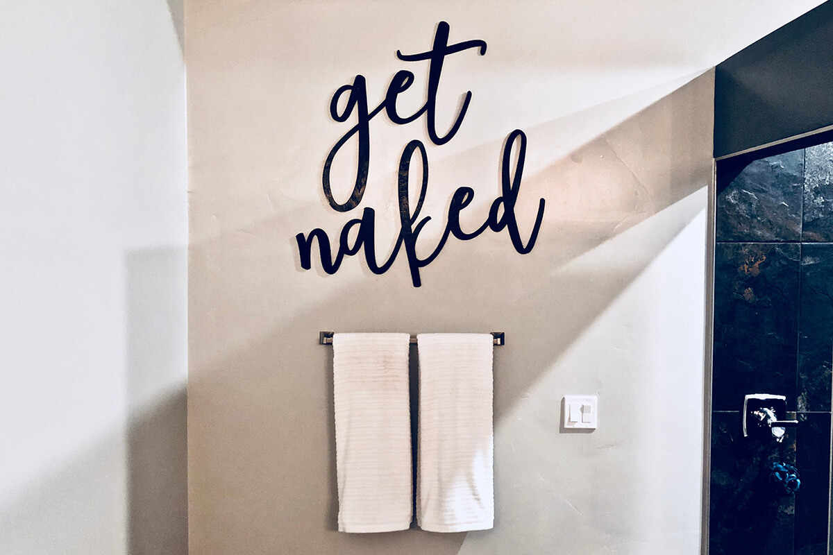 Get Naked Bathroom Wall Sign