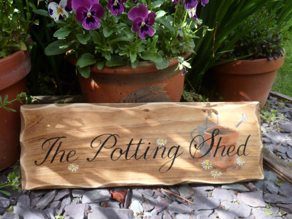 """The Potting Shed"" Wooden Garden Sign"