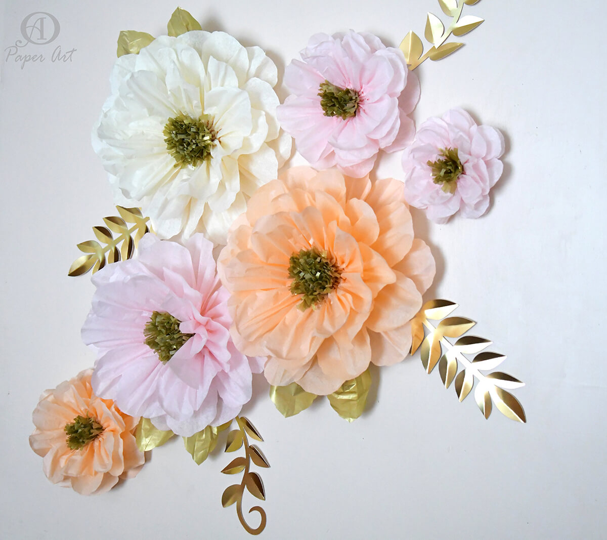 Luscious Tissue Flowers with Gold Foil Leaf