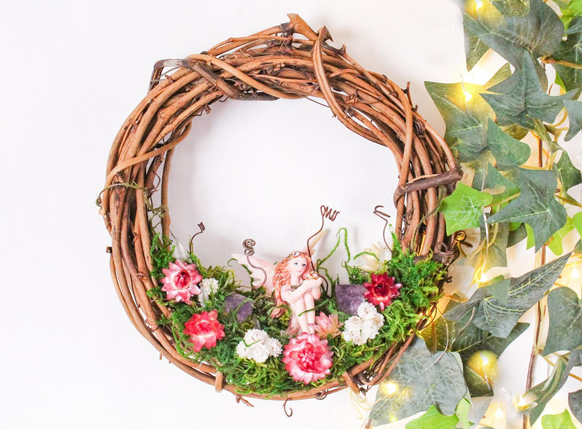 Wooden Wreath with Large Fairy