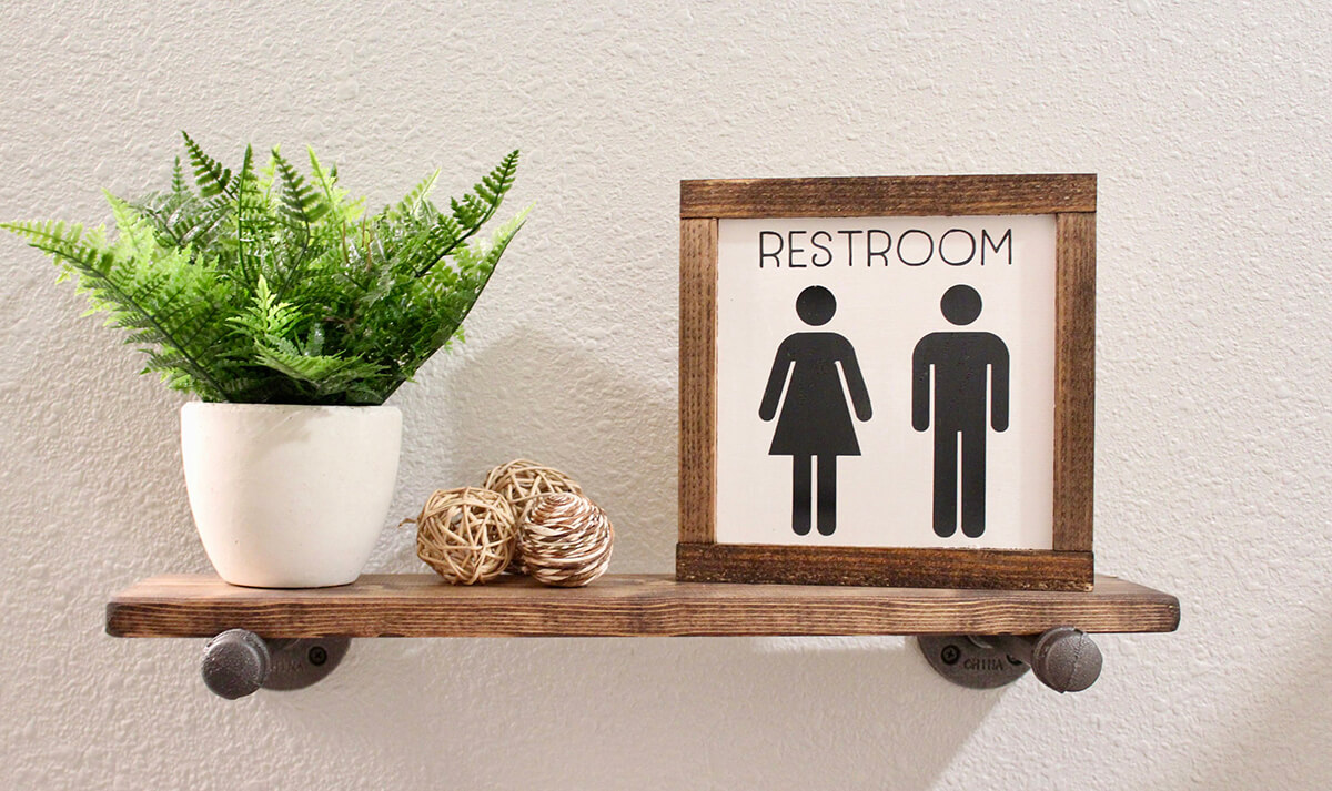 Rustic Wood Farmhouse Restroom Sign