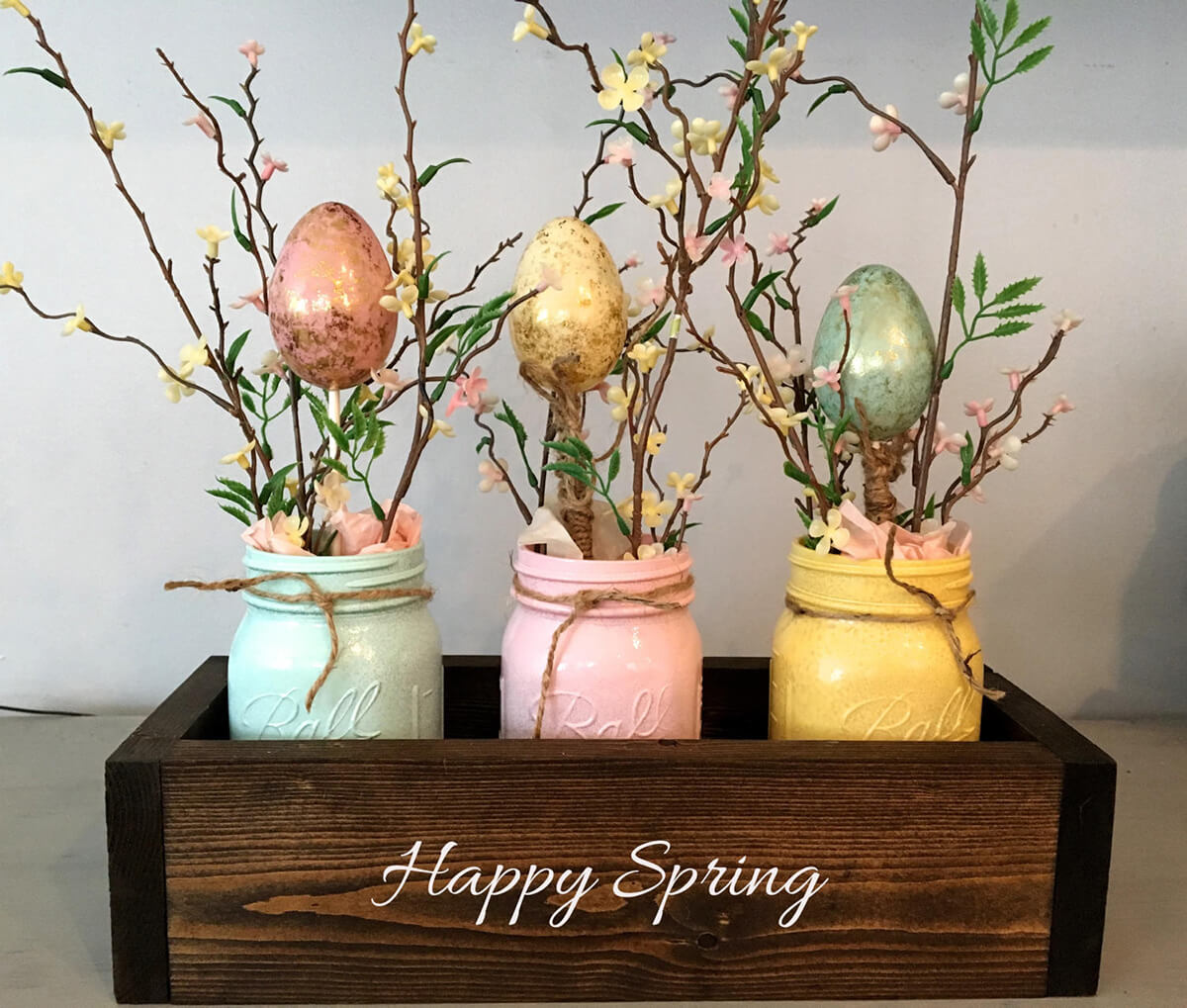 Planter Box Styled Spring Tree Centerpiece