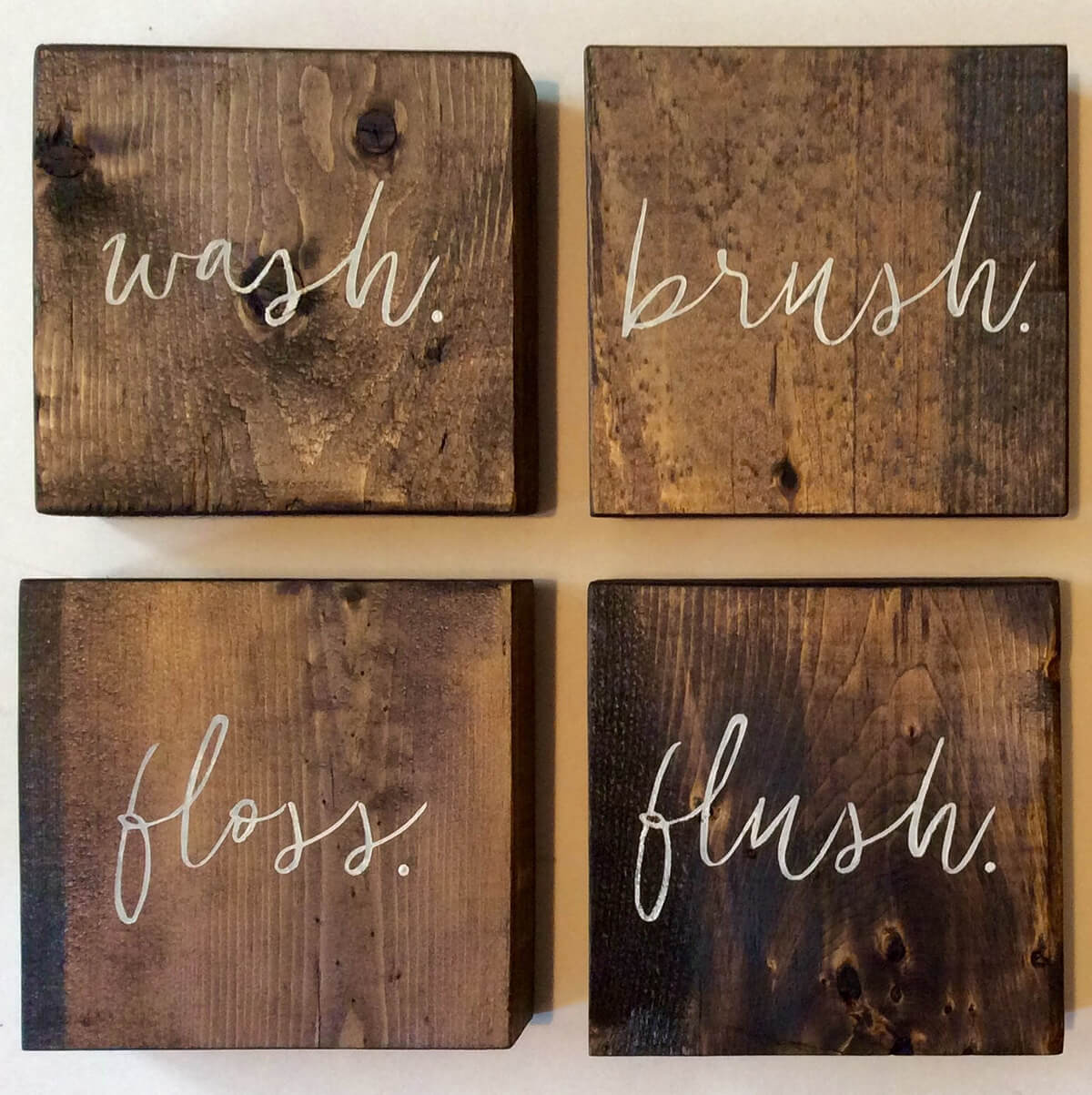 Wood Block Wash Brush Floss Flush Signs