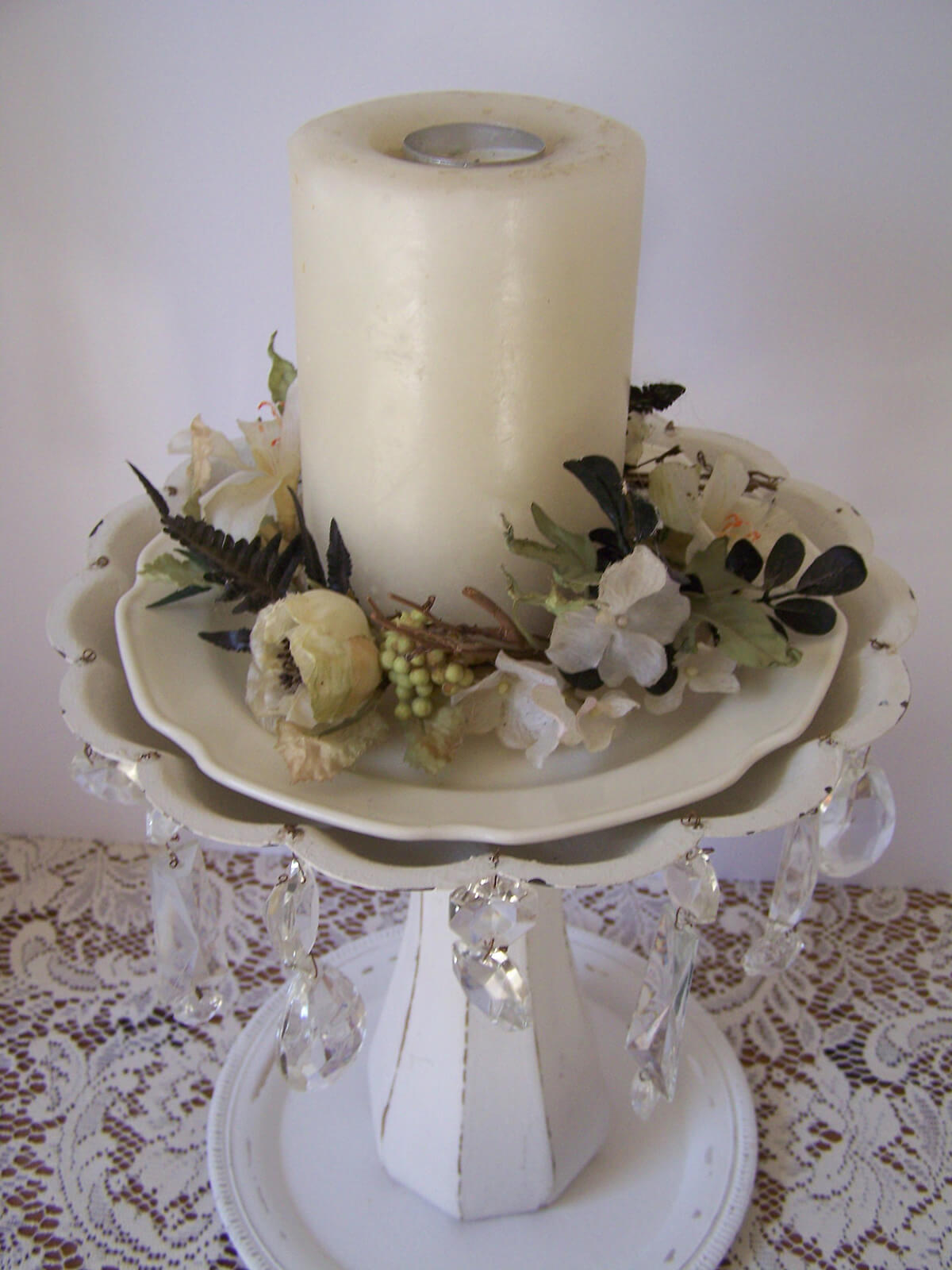 Candle Centerpiece with Distressed Tray
