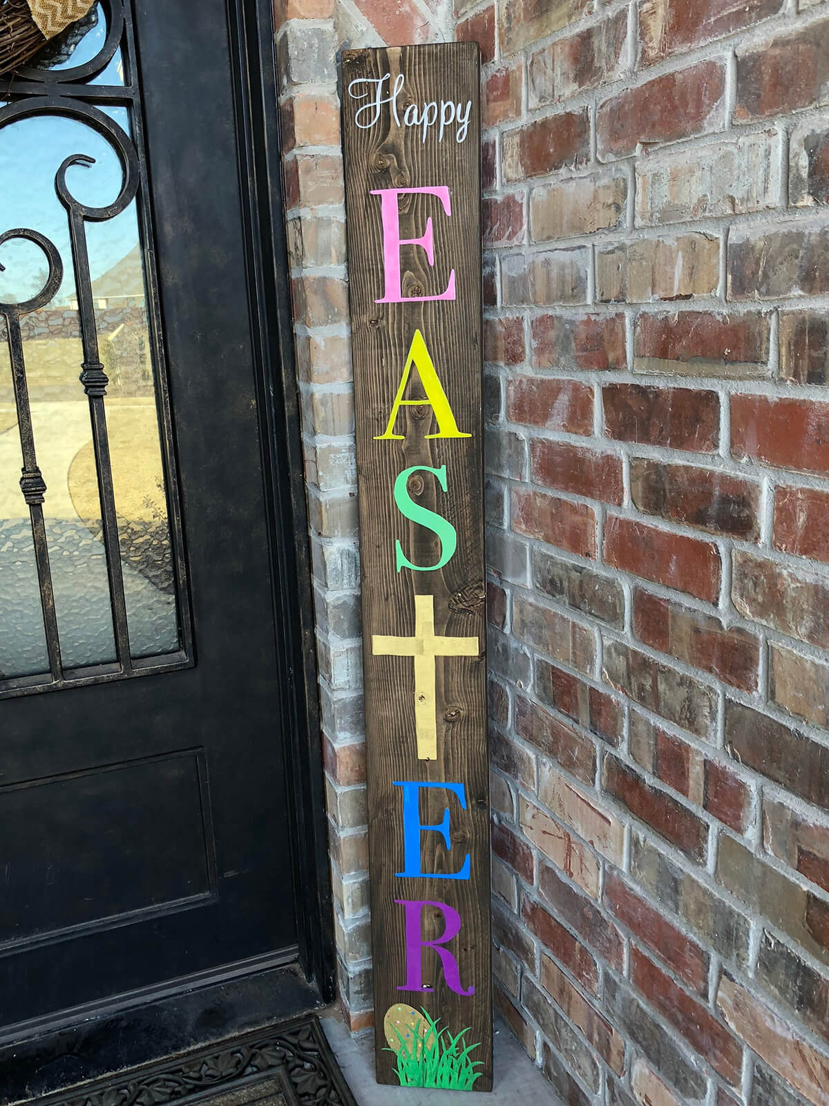 Cheery Multi-Colored Wooden Easter Sign