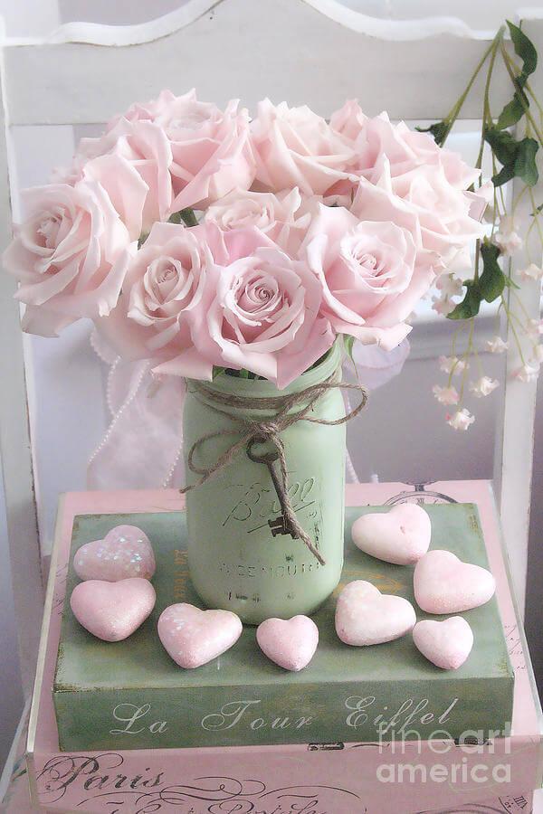 Grey Mason Jar with Flowers