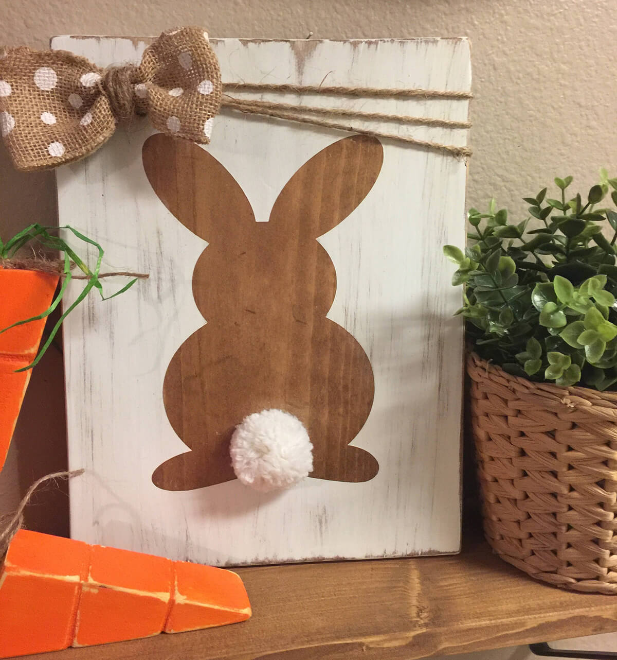 Polka-Dot Bow Wooden Bunny Sign