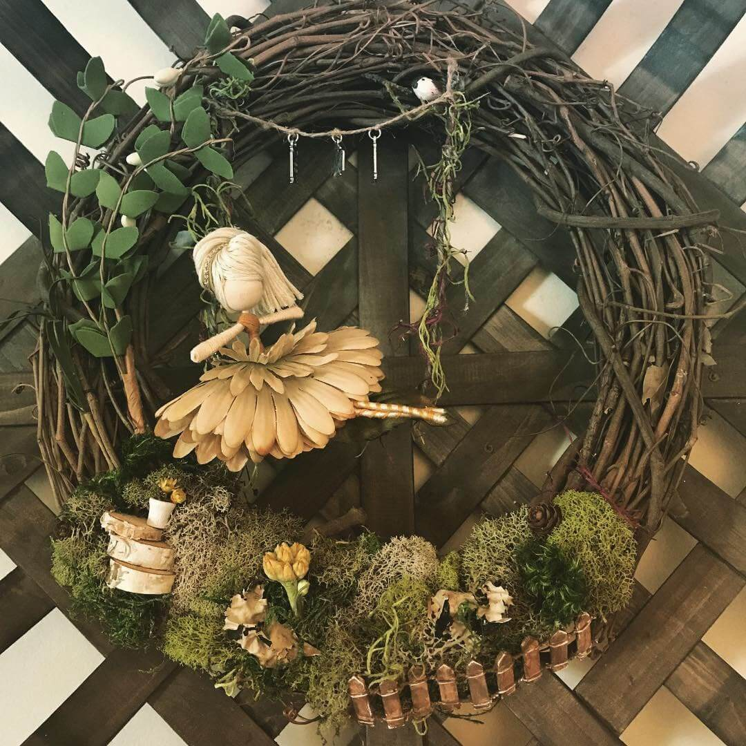 Wooden Wreath with Fairy and Moss