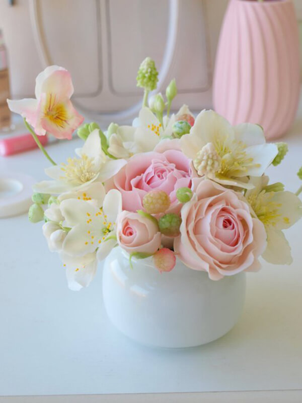 Porcelain Oval Vase with Flowers
