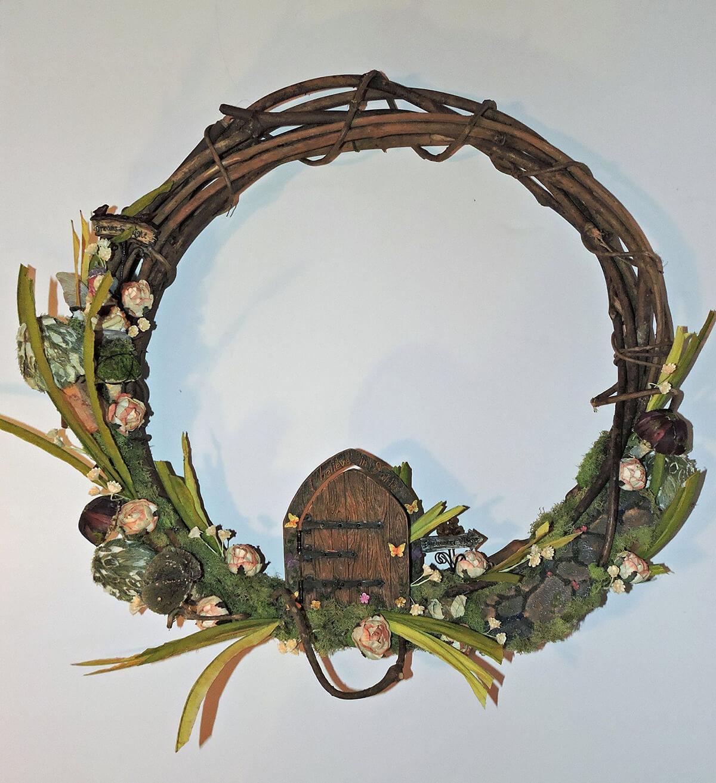 Beautiful Wooden Wreath with Door