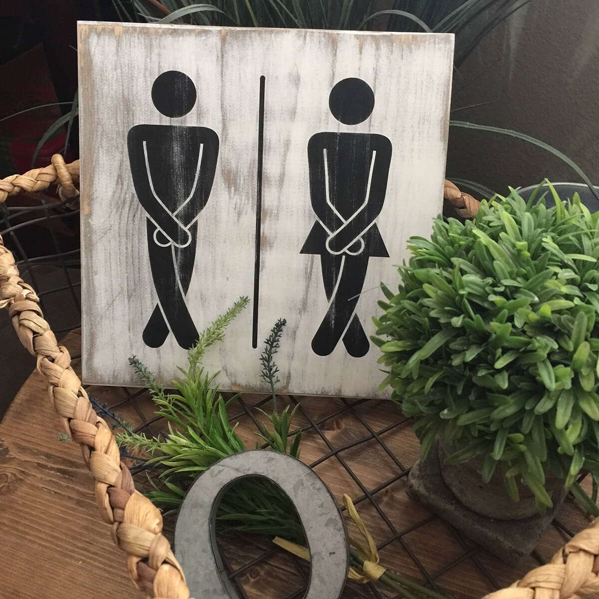 His and Hers Funny Restroom Sign