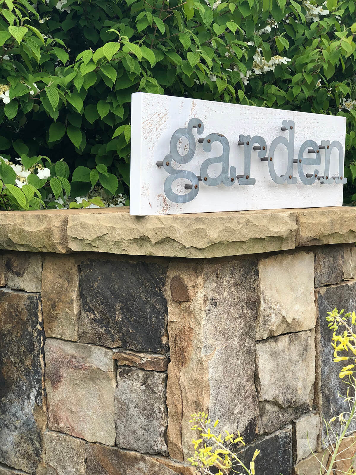 "Wooden ""Garden"" Sign with Metal Letters"