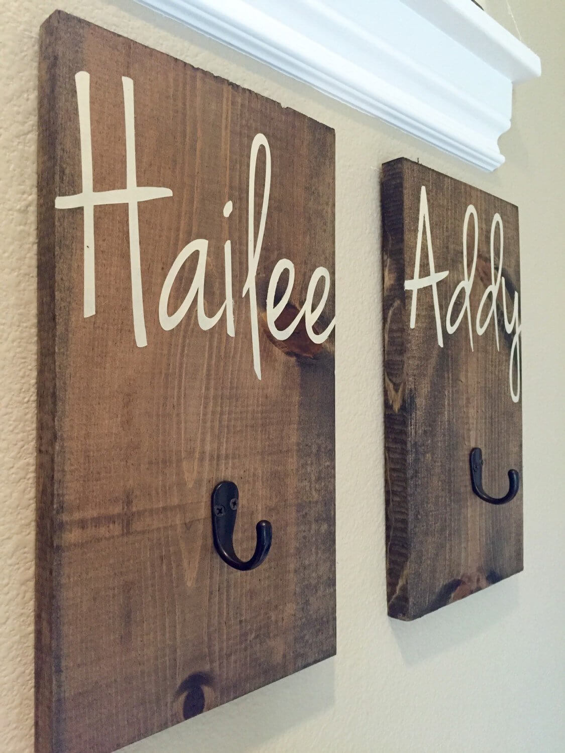 Rustic Wood Personalized Wall Hooks