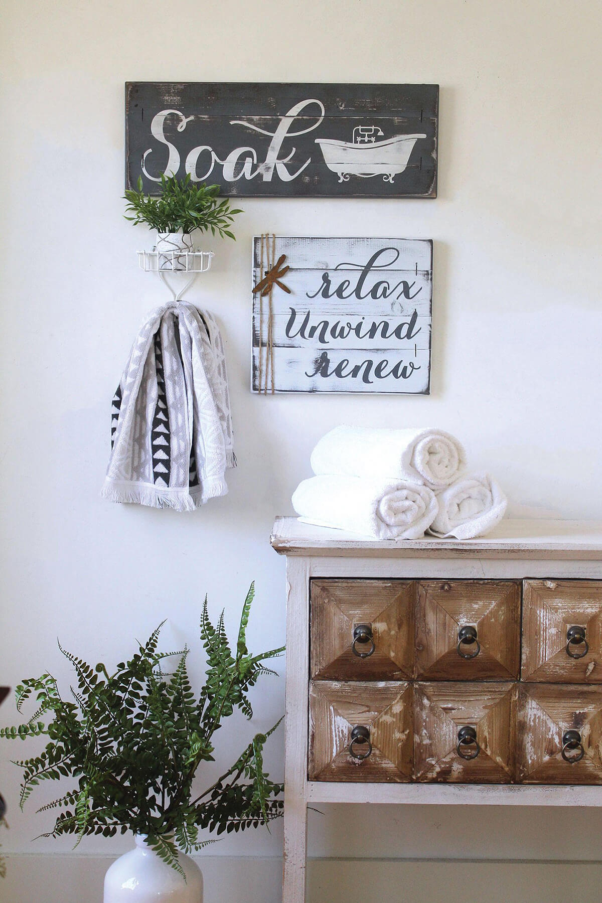 Rustic Farmhouse Restroom Sign Set