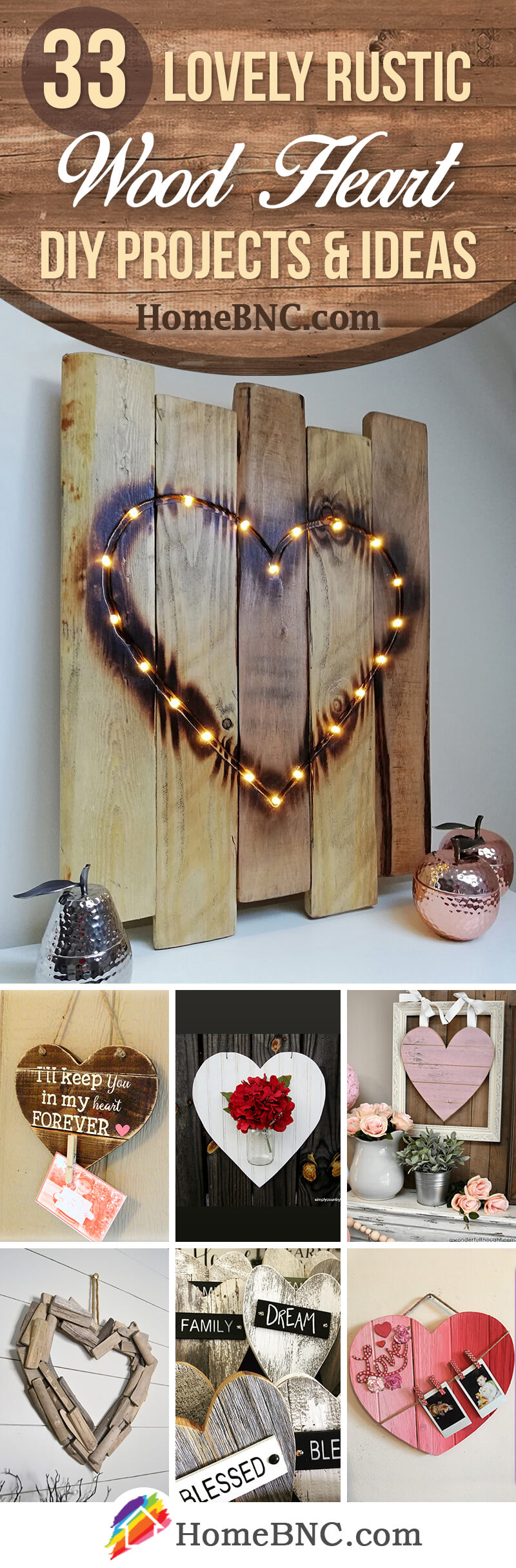 Rustic Wood Heart DIY Ideas