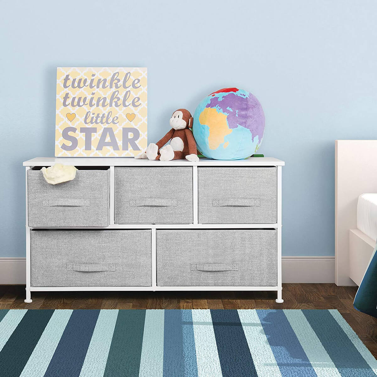 Wide Five Drawer Study Storage Dresser