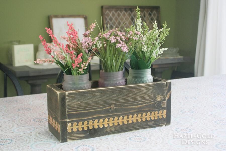 DIY Stenciled Scrap Wood Flowerbox Centerpiece