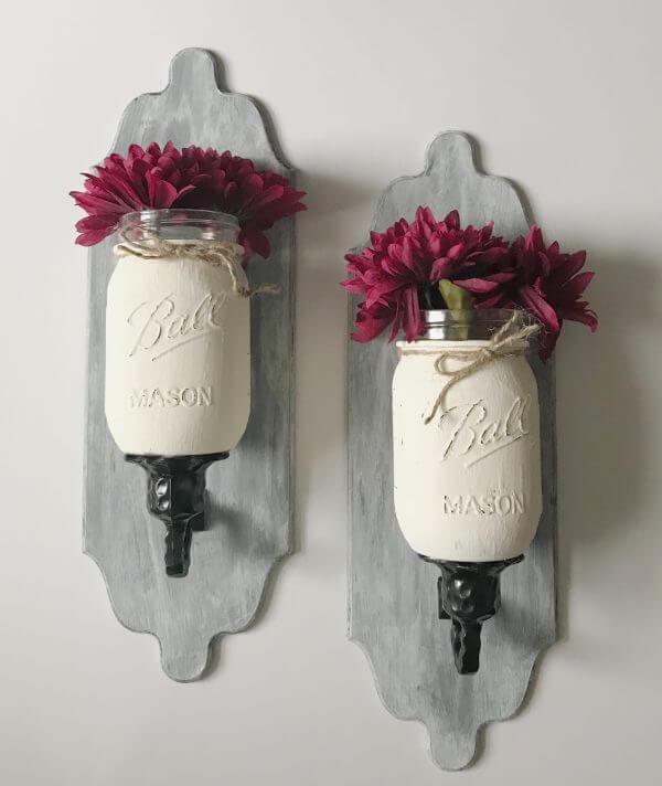 Up-cycled Painted Mason Jar Sconce Vases