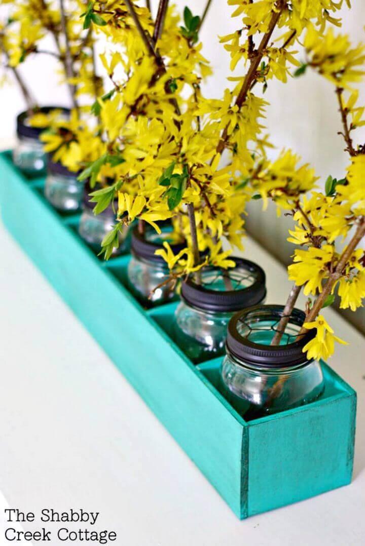 Painted Mason Jar Flowerbox Centerpiece