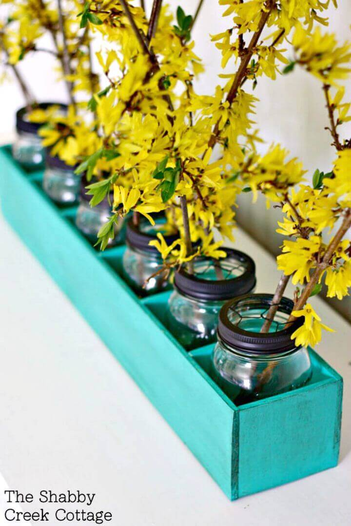 Painted Mason Jar Flowerbox Centerpiece