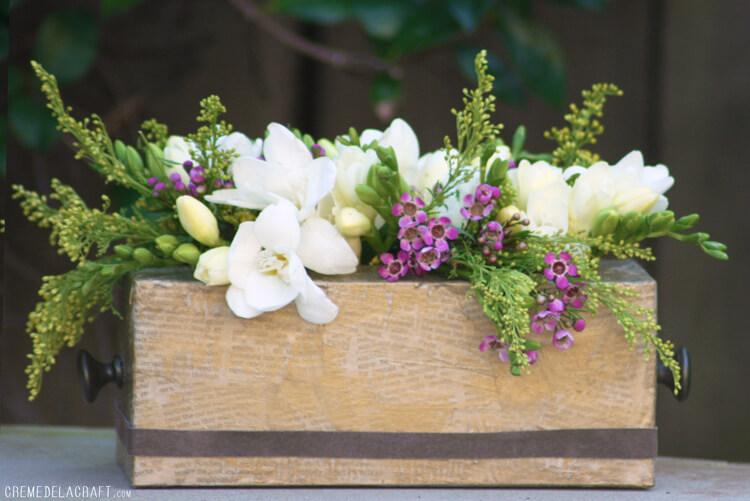 Decoupage Tissue Box Flowerbox Centerpiece