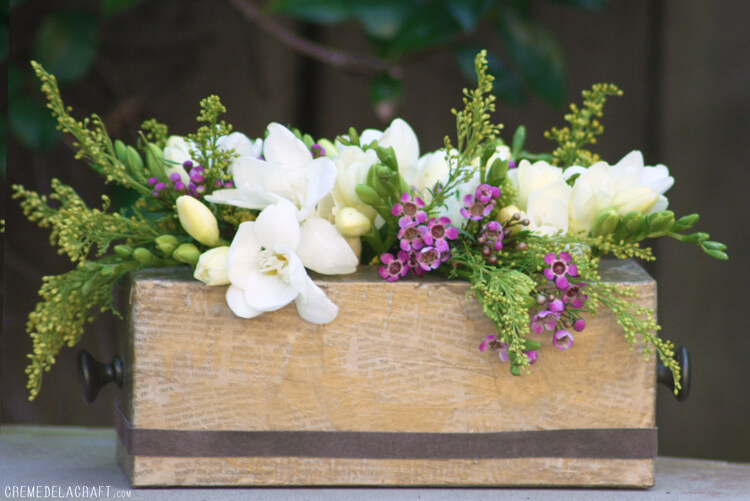 Decoupage Tissue Box Flowerbox Centerpiece