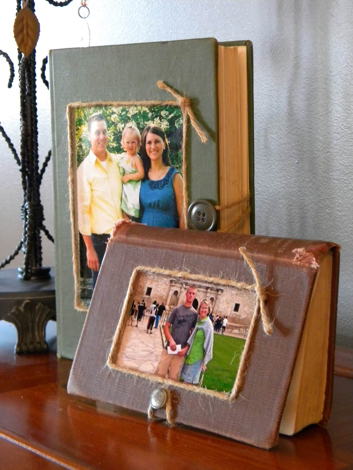 Old Hardcover Book Transformed Into Picture Frame