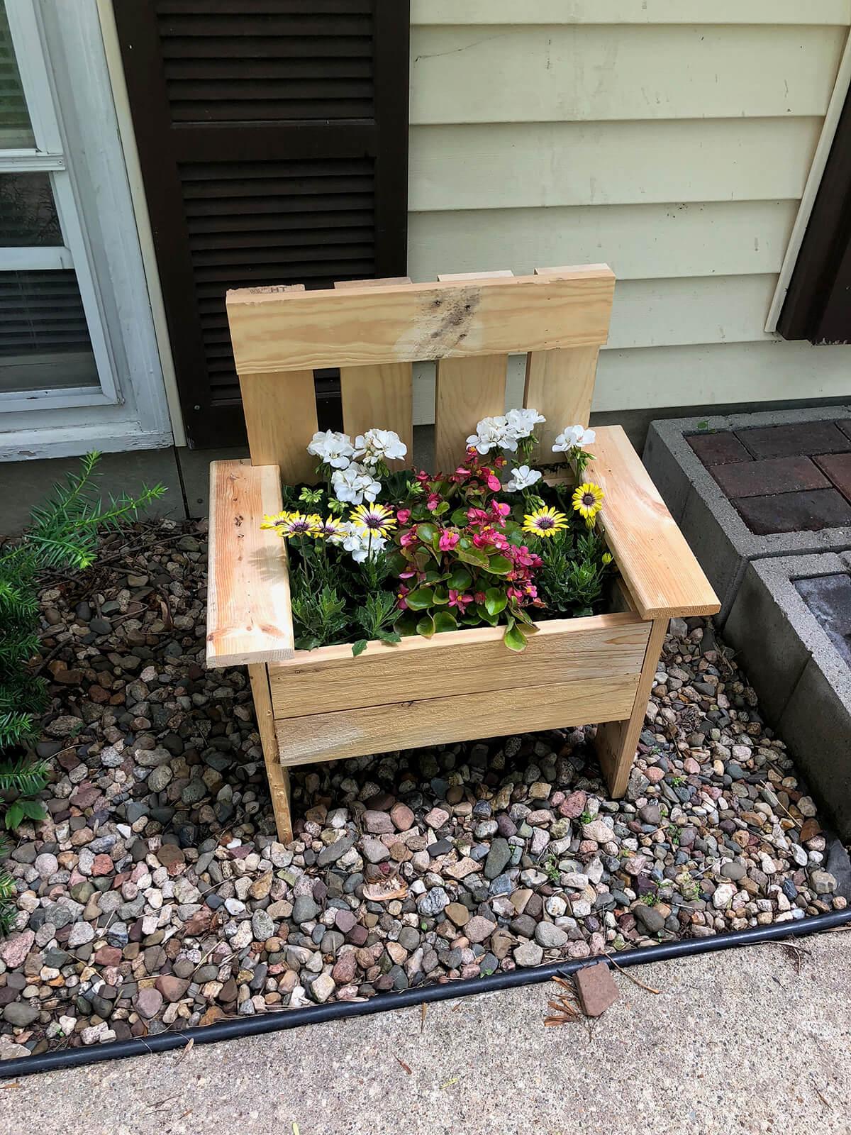 An Adorable Handmade Wooden Chair Planter