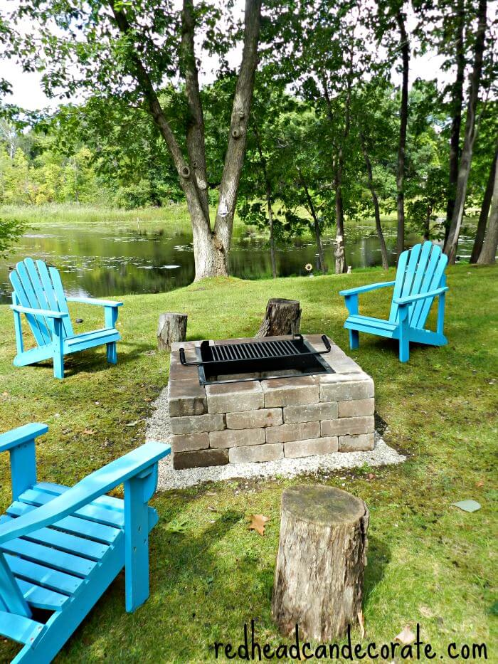 Backyard Fire Pit DIY with Grill Top