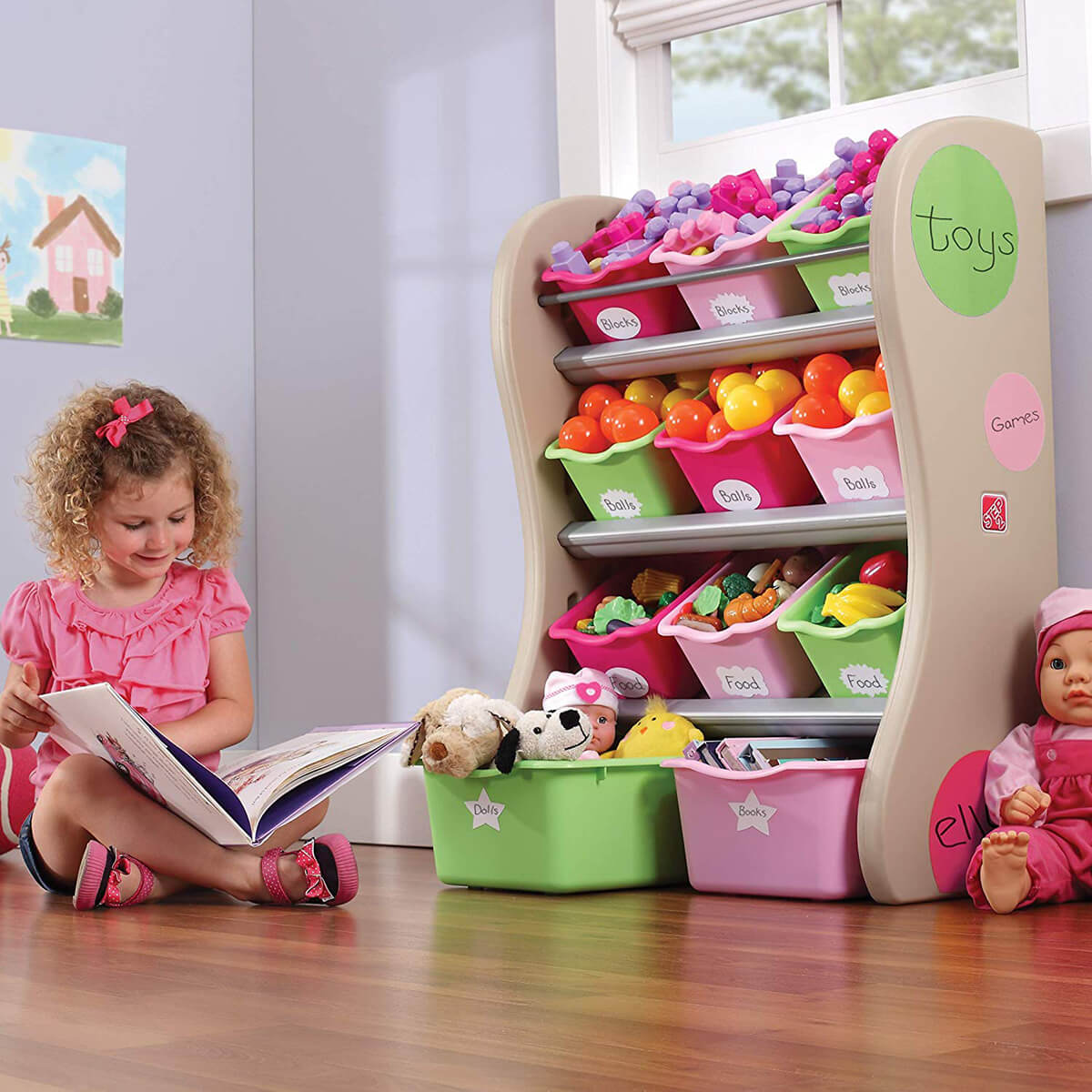Sturdy Pink and Green Storage Bins