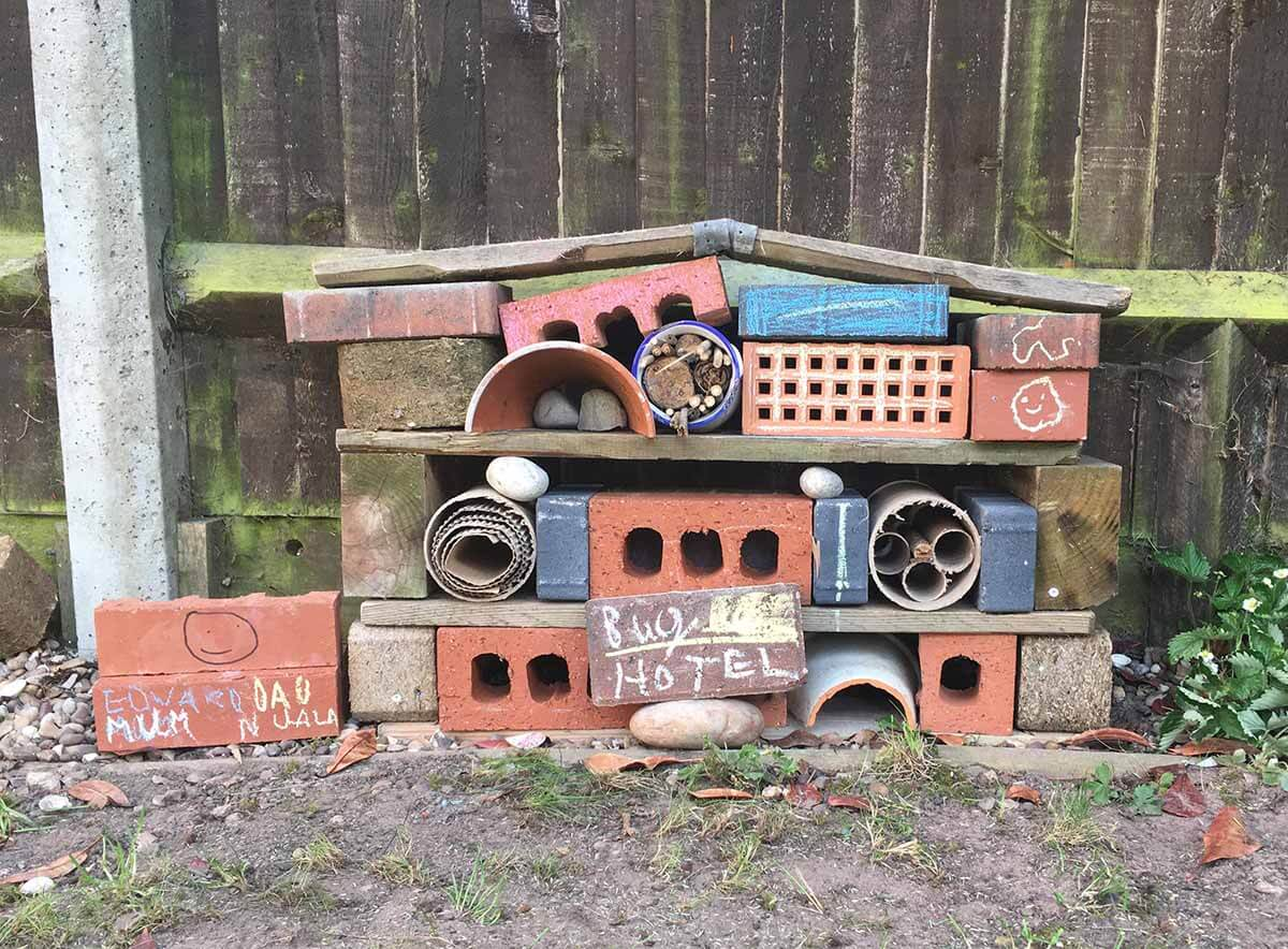 A Bug Hotel with Natural Materials and Recyclables