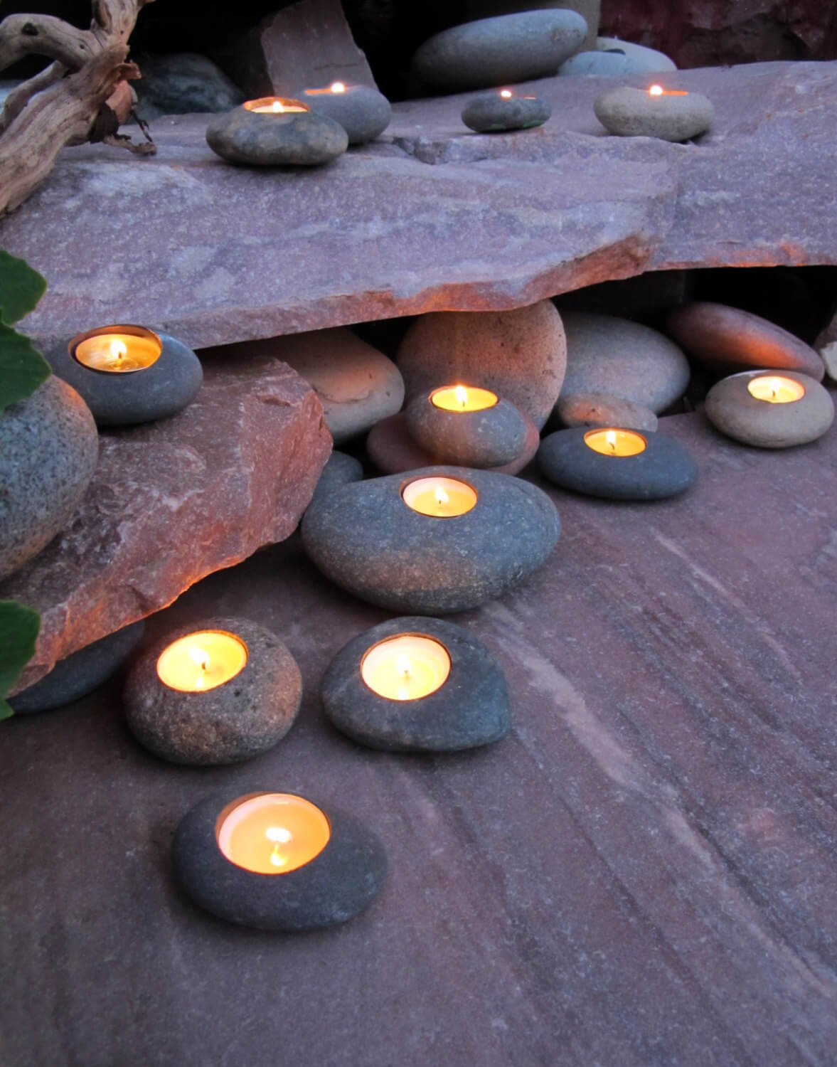 Simple Stone Patio Votive Holders