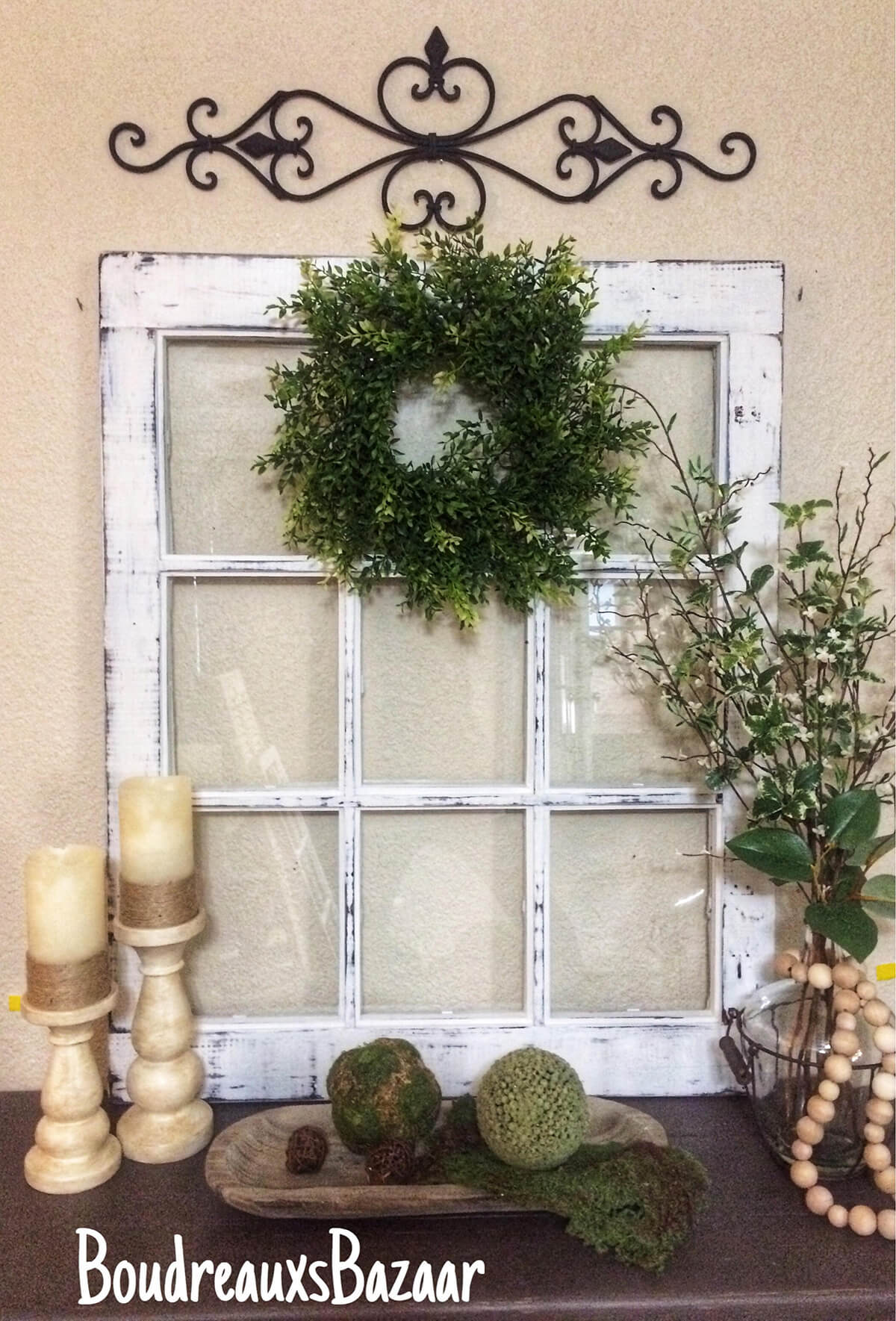 Window Pane and Wreath Entry Display